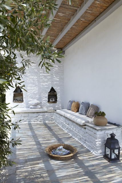 Traditional patio - under the shade of reeds
