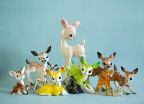Bambi everywhere. Ceramic retro animals in general are very characteristic.