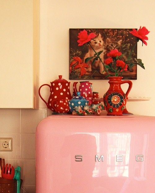 Pink Smeg refrigerator, red polka dots, plastic flowers, cat in the background. What else do you need?