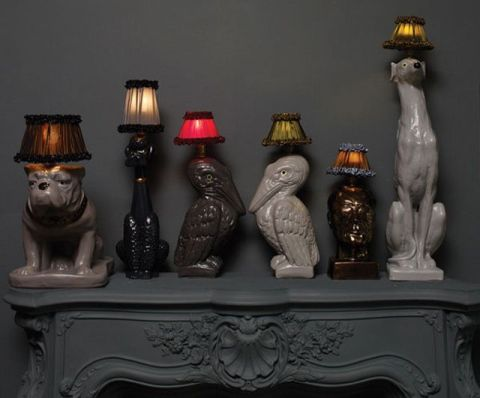 Animal table lamps by Atelier Abigail Ahern. Playful, witty, and classy kitsch!