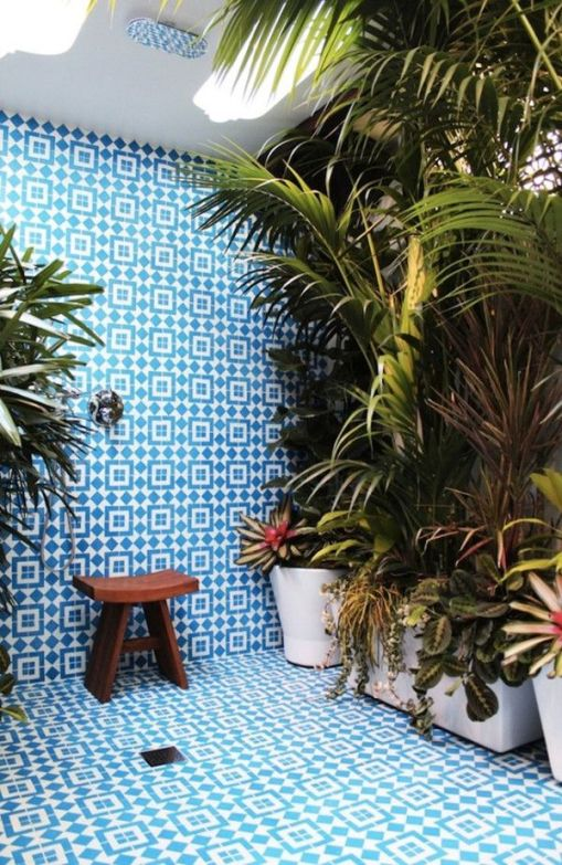 Tiles and plants create a tropical atmosphere