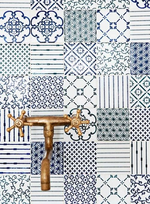 Different patterns again in blue with a vintage faucet. Made a mano