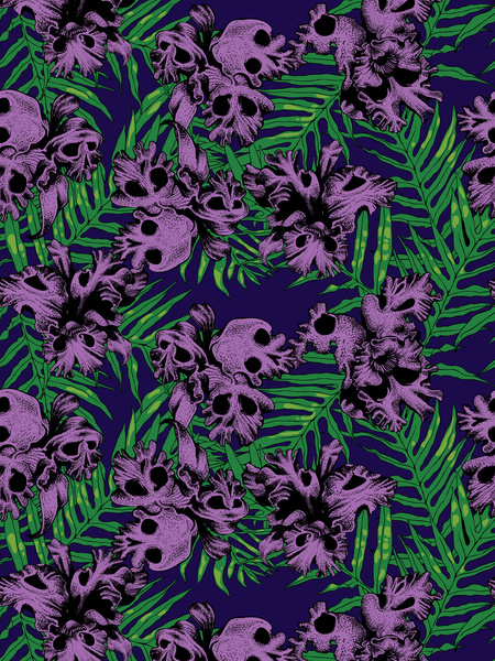skulls patterns_my blue flamingo