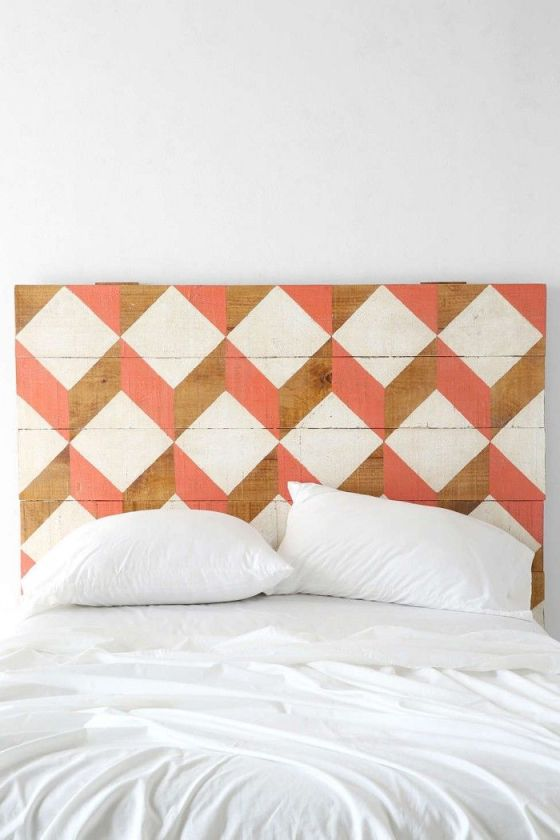 Colored geometry on these wooden headboards from Urban outfitters. See more also here.