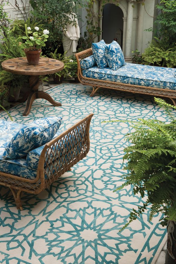 See how a rug can give so much style! Moroccan ambience to your patio. & Outdoor Rugs for a cozy patio | my blue flamingo