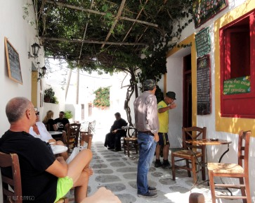 Cute cafe under natural shadow, where all the village passes by