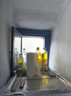 Bottles of oil for the church's candles