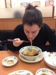 Me tasting my first ramen