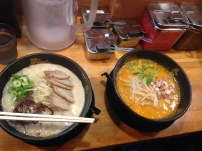 2 choices of ramen. The orange one was very spicy!!