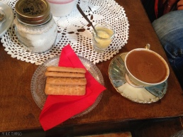 greek coffee with biscuits and traditional sweet