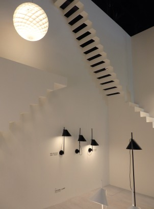 Louis Poulsen. The most impressive was its booth design with all these fake stairs, total white and smooth light through black lamps