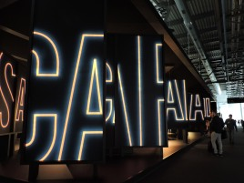 Foscarini's booth, clever signage with these panels, everyone was trying to take the best shot of them!