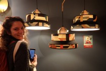 Thalia making the Aperitivo pose next to the homonymous lamps,our slogan at Milan! Servomuto