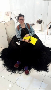 Me, of course, posing at a weird seating with black hair...at Ctrlzak studio crazy pavilion
