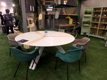 Cool meeting table and chairs. But the highlight is the eco-kitchen station at the back!