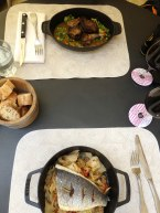 Our lunch, pigeon and fish with vegetables